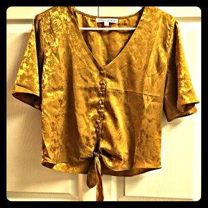 13a14200dcb lola grace. Mustard gold emboss crop tie front shirt
